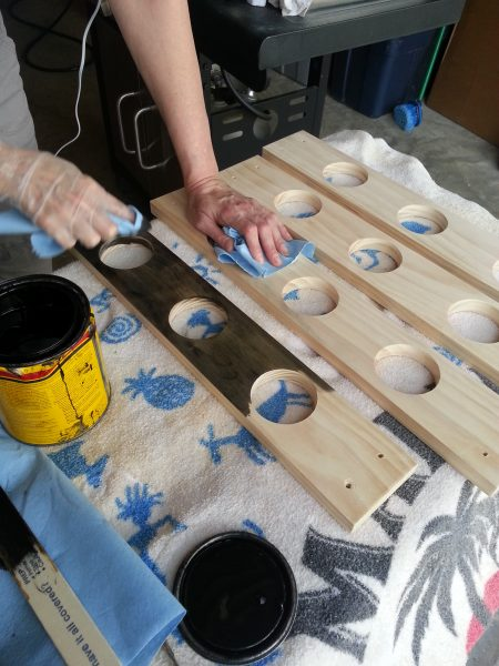 Staining the pieces